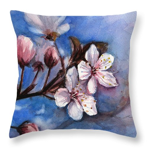 Spring Throw Pillow featuring the painting Cherry Blossoms by Olga Shvartsur
