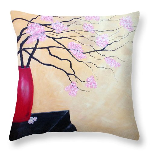 Oriental Throw Pillow featuring the painting Cherry Blossoms by Susan Kubes