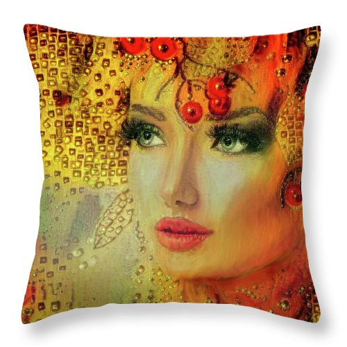 Cherry Lady Throw Pillow featuring the mixed media Cherry Cherry Lady by Lilia D