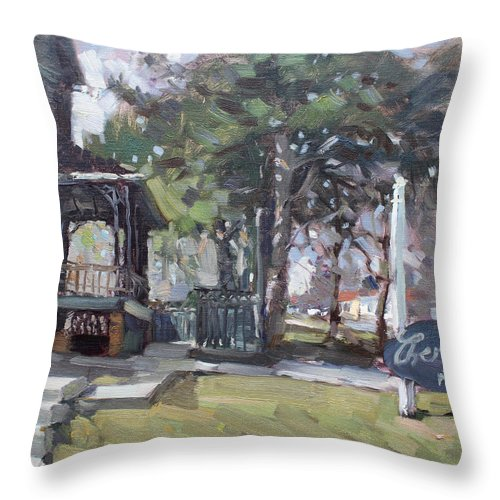 Cherry Hills Pub Throw Pillow featuring the painting Cherry Hill Pub by Ylli Haruni