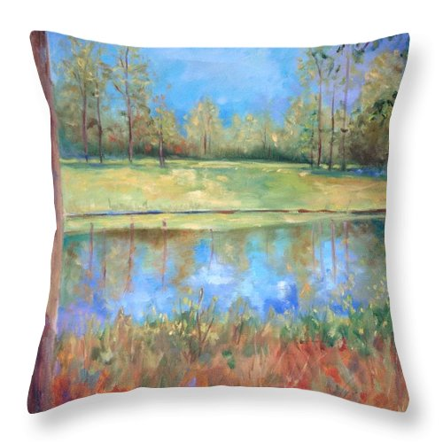 Ponds Throw Pillow featuring the painting Cherry Moon Pond by Ginger Concepcion