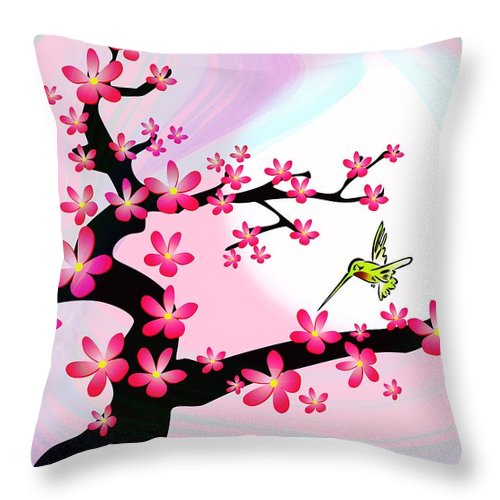 Cherry Throw Pillow featuring the digital art Cherry Tree by Anastasiya Malakhova