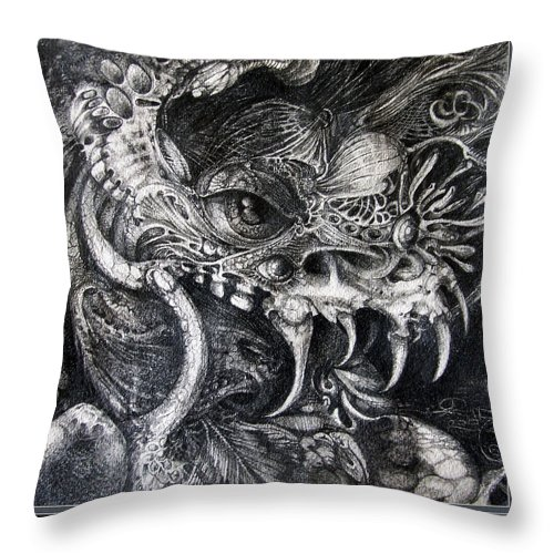 Throw Pillow featuring the drawing Cherubim Of Beasties by Otto Rapp