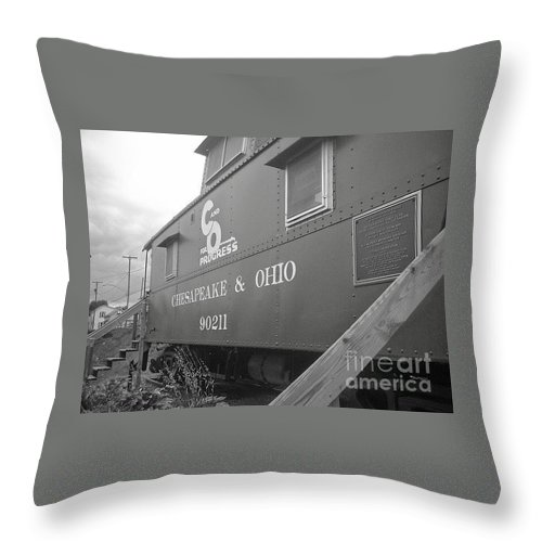 Caboose Throw Pillow featuring the photograph Chesapeake And Ohio by Dawn Downour