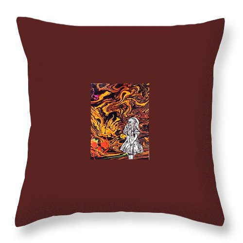 Throw Pillow featuring the painting Cheshire Cat by Nevets Killjoy