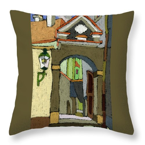 Pastel Throw Pillow featuring the painting Chesky Krumlov Old Street Latran by Yuriy Shevchuk