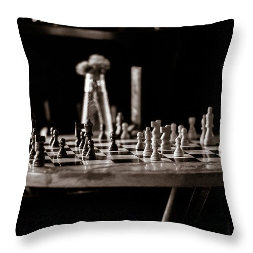 Throw Pillow featuring the photograph Chess Board by Rod Lindley