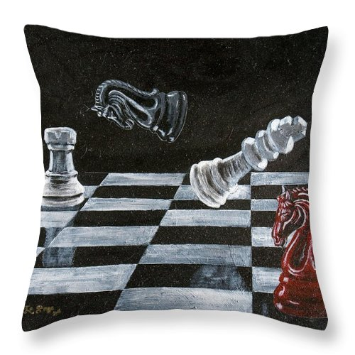 Chess Throw Pillow featuring the painting Chess by Richard Le Page