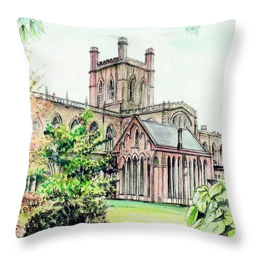 Chester Throw Pillow featuring the painting Chester Cathedral England by Morgan Fitzsimons
