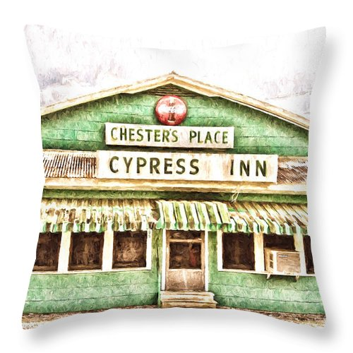 Chesters Place Throw Pillow featuring the photograph Chester's Place Cypress Inn by Scott Pellegrin
