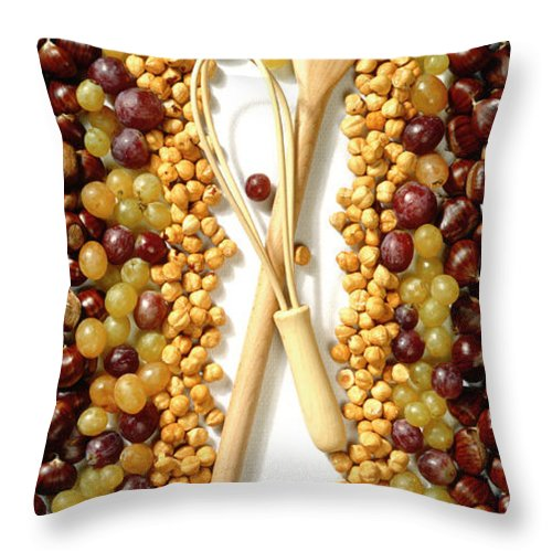 Arty Throw Pillow featuring the photograph Chestnuts Grapes Wallnuts by Stefania Levi