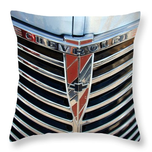 Photography Throw Pillow featuring the photograph Chevrolet Chrome by J R Seymour