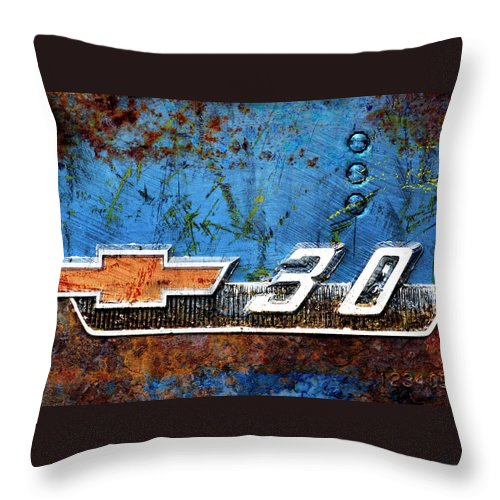 Car Throw Pillow featuring the photograph Chevy 3.0 Photomontage by Carol Leigh