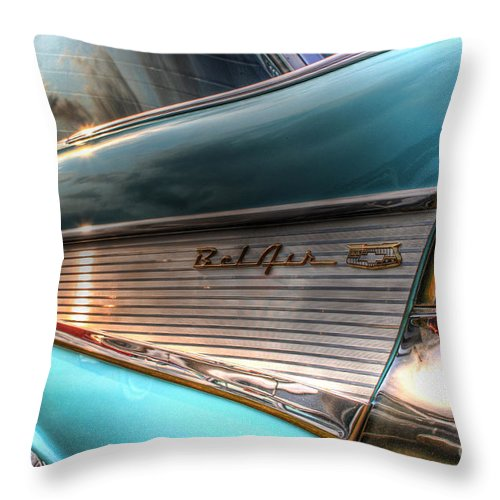 Chevy Throw Pillow featuring the photograph Chevy Bel Air by Joel Witmeyer