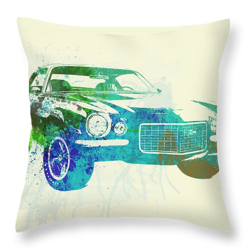 Chevy Camaro Throw Pillow featuring the painting Chevy Camaro Watercolor by Naxart Studio