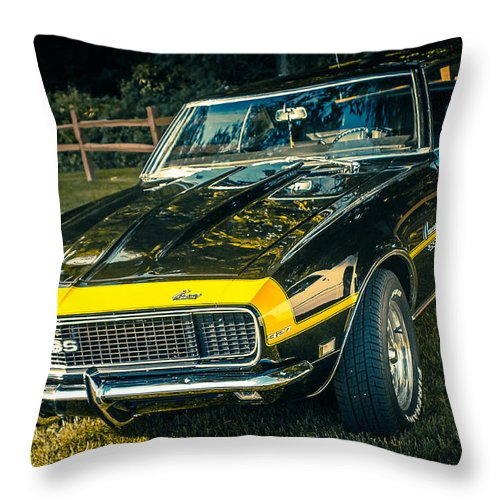 Chevy Car Throw Pillow featuring the photograph Chevy Camaro by Mark Maloney