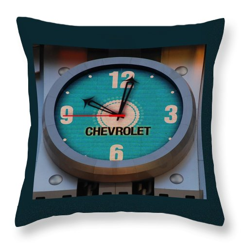 Clock Throw Pillow featuring the photograph Chevy Neon Clock by Rob Hans