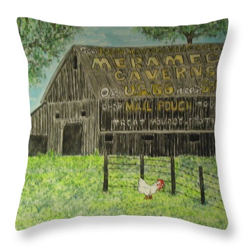 Chew Mail Pouch Throw Pillow featuring the painting Chew Mail Pouch Barn by Kathy Marrs Chandler