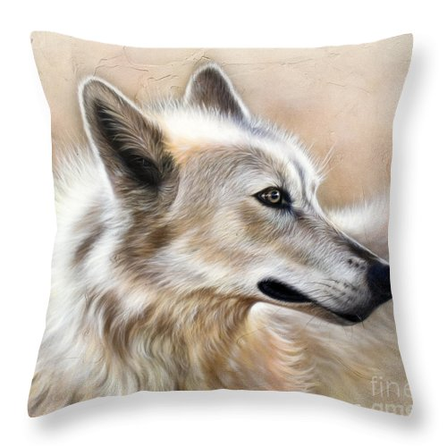 Acrylic Throw Pillow featuring the painting Cheyenne by Sandi Baker