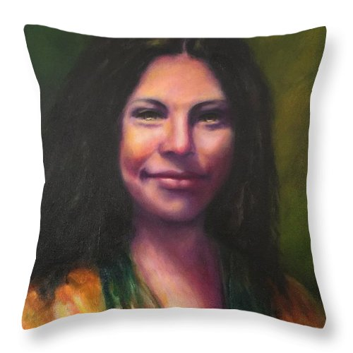 Cheyenne Hernandez Throw Pillow featuring the painting Cheyenne by Shannon Grissom
