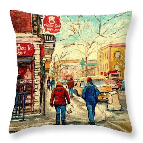 Chez Ge Gaulle Patisserie Deli Throw Pillow featuring the painting Chez De Gaulle Patisserie Deli by Carole Spandau