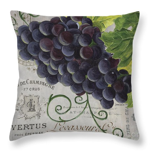 Grapes Throw Pillow featuring the painting Vins de Champagne 2 by Debbie DeWitt