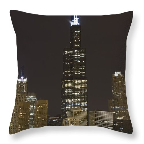City Sky Skyline Wind Windy Windycity Il Chicago Night Dark Light Lights Street Building Tall House Throw Pillow featuring the photograph Chicago At Night by Andrei Shliakhau
