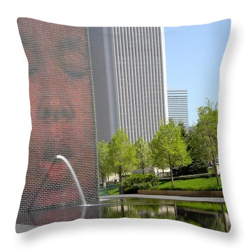 Chicago Throw Pillow featuring the photograph Chicago Crown Fountain 8 by Jean Macaluso