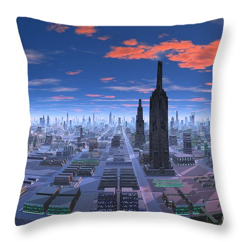 Chicago Daytime Image Throw Pillow featuring the digital art Chicago Daytime Image by Heinz G Mielke