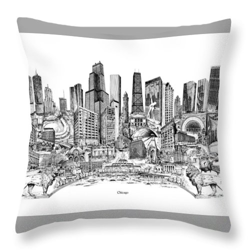 City Drawing Throw Pillow featuring the drawing Chicago by Dennis Bivens
