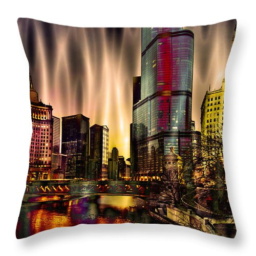 Cityscape Throw Pillow featuring the photograph Chicago Draws The Curtain by Ron Fleishman