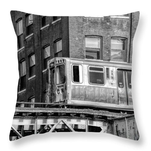 Chicago Throw Pillow featuring the photograph Chicago El And Warehouse Black And White by Christopher Arndt