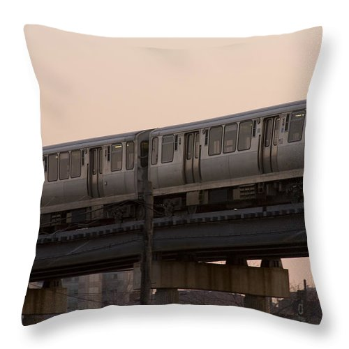 Chicago Windy City El Elevated Train Urban Metro Passanger Transport Transportation Throw Pillow featuring the photograph Chicago El by Andrei Shliakhau