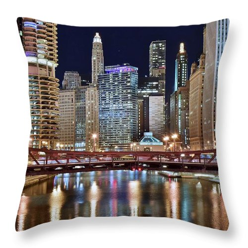 Chicago Throw Pillow featuring the photograph Chicago Full City View by Frozen in Time Fine Art Photography