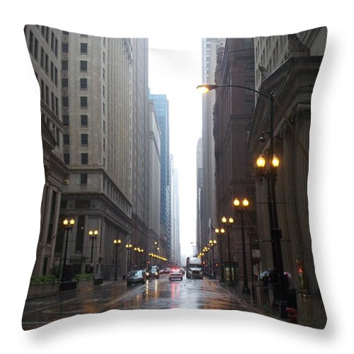 Chicago Throw Pillow featuring the photograph Chicago In The Rain 2 by Anita Burgermeister