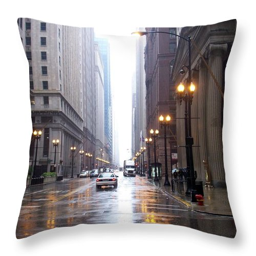 Chicago Throw Pillow featuring the photograph Chicago In The Rain by Anita Burgermeister