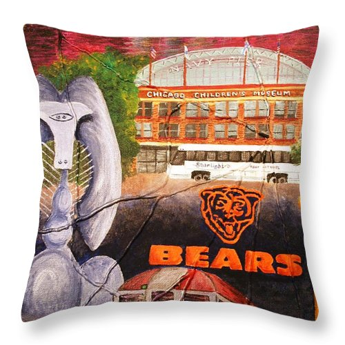 Chicago Throw Pillow featuring the painting Chicago by Melissa Wiater Chaney