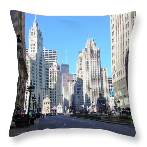Chicago Throw Pillow featuring the photograph Chicago Miracle Mile by Anita Burgermeister