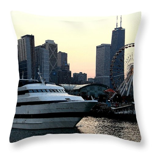 Photo Throw Pillow featuring the photograph Chicago Navy Pier by Glory Fraulein Wolfe