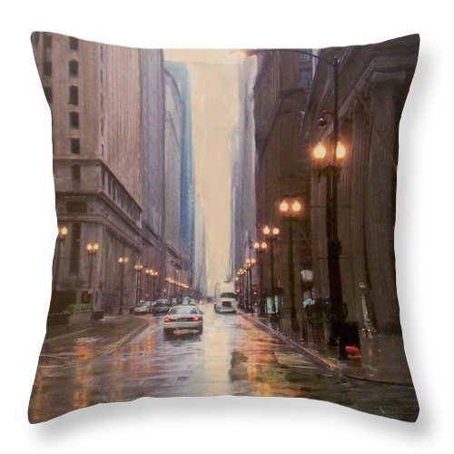 Chicago Throw Pillow featuring the painting Chicago Rainy Street by Anita Burgermeister