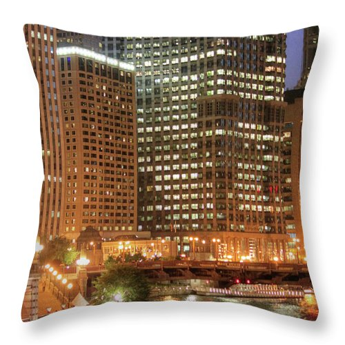 Chicago Throw Pillow featuring the photograph Chicago River At Night by Ann Higgens