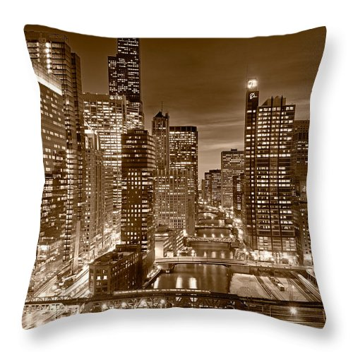 Boeing Throw Pillow featuring the photograph Chicago River City View B And W by Steve gadomski