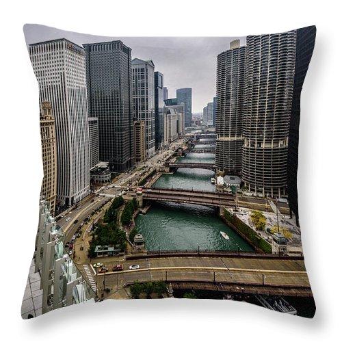 2016 Throw Pillow featuring the photograph Chicago River by Randy Scherkenbach