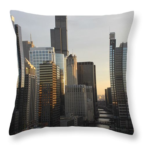 Chicago Throw Pillow featuring the photograph Chicago River View by Lauri Novak