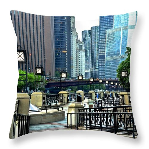 Chicago Throw Pillow featuring the photograph Chicago River Walk Invites You by Frozen in Time Fine Art Photography