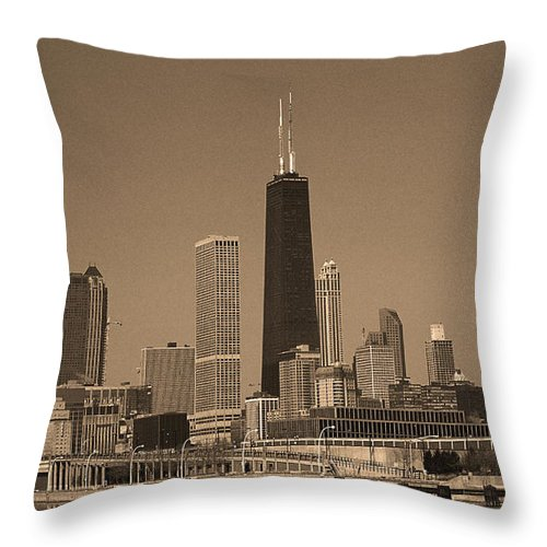 America Throw Pillow featuring the photograph Chicago Skyline Sepia #10 by Frank Romeo