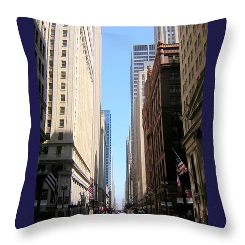 Chicago Throw Pillow featuring the photograph Chicago Street With Flags by Anita Burgermeister