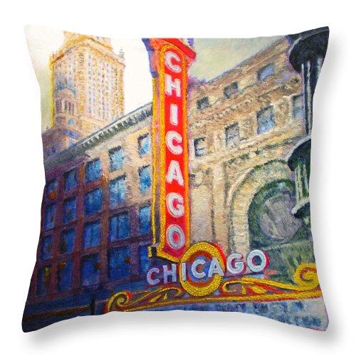 Chicago Throw Pillow featuring the painting Chicago Theater by Michael Durst