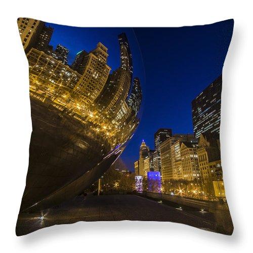 Bean Throw Pillow featuring the photograph Chicago's Millenium Park At Dusk by Sven Brogren