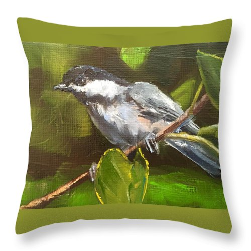 Bird Throw Pillow featuring the painting Chickadee by Gary Bruton